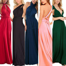 UK Sexy Womens Wrap Evening Party Wedding Bridemaid Full Length Maxi Long Dress
