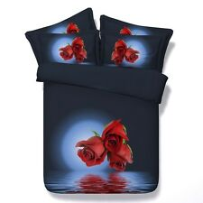 Twin & Queen Size Red Roses in the Moonlight Duvet Cover Bedding Set