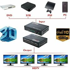 Full HD HDMI Splitter 1X4 4 Port Hub Repeater Amplifier v1.4 3D 1080p 1 in 4 o#V