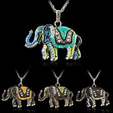 Vintage Crystal Animal Elephant Pendant Long Sweater Chain Necklace Jewellery