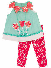 Rare Editions Girls Flowers & Bows Clip Dot Summer Top & Leggings Set 12 18 24