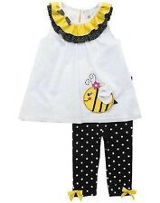 Rare Editions Girls Set Clip Dot Top Ribbons Embroidered Bee Stretch Leggings