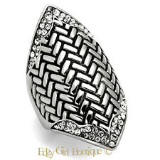 Women's Boho Tribal 316L Stainless Steel Crystal Fashion Statement Ring Size 5-6