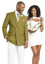 Double Breasted Stripe Men Suit Olive Green Jacket White Pants EJ Samuel M2707