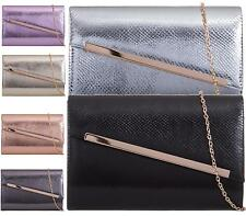 NEW WOMENS LADIES METALLIC BRIDAL PARTY EVENING PROM ENVELOPE CLUTCH BAG