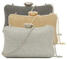 WOMENS HARD CASE BOX CLUTCH PARTY DIAMANTE EVENING PROM OCCASION CLUTCH BAG
