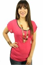 121AVENUE Lovely Chiffon Two Tone Top L Large Women Pink Casual Short Sleeve