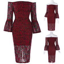 Womens Bell Sleeve Off Shoulder Bodycon Cocktail Party Wiggle Lace Pencil Dress