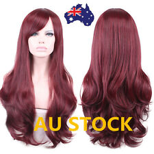 Women Curly Wavy Long Wine Red Brown Hair Full Wigs Cosplay Party Wig+Wig Cap