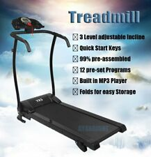 Home Manual Incline Folding Running Machine Motorised Treadmill Fitness Exercise