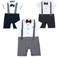 New Baby Boy Formal Check Tuxedo Suit Style One-Piece Romper Playsuit Bodysuit