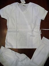 1063 STRETCH FABRIC Hospital Nurses Uniform Wrap Fashion Cargo Scrubs Set WHITE