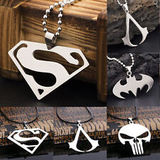 Men Super Heroes Stainless Steel Titanium Silver Fashion Pendant Necklace Chain