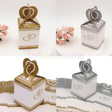50pcs DREAM WEDDING Double Hearts Paper Candy Boxes Party Favor Decoration