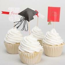 24pcs Nocvelty Graduation Grad Caps Cupcake Picks Cake Toppers Party Decoration