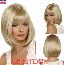 Uk Womens Fashion Light Blonde Short Bob Style Full Wig Party Cosplay Hair