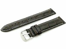 18mm Brown/White Genuine Leather Watch Strap Band For Tissot Clasp/Buckle Pins