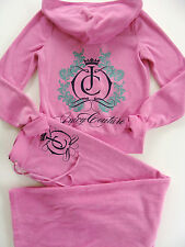 Juicy Couture Pink Tracksuit Jacket Hoodie Pants Terry Small S