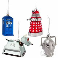 New Doctor Who TARDIS Dalek K-9 Or Cyberman Glass Xmas Tree Ornaments Official