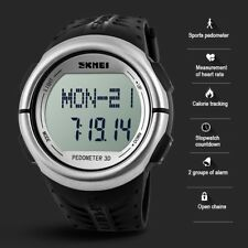 Men Women Pedometer Calorie Counter Heart Rate Monitor Pulse Fitness Sport Watch