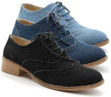 WOMENS DENIM LACE UP PUNK FLAT BROGUE OXFORD OFFICE WORK LOAFERS SHOES SIZE 3-8