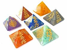 CHAKRA ENERGY CRYSTAL WITH REIKI CARVING PYRAMID SETS (SPECIAL SALE PRICE)