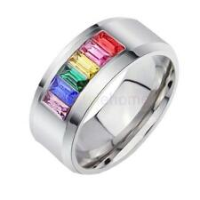 Unisex Rainbow Stainless Steel Crystal Ring Lesbian Gay Pride Gift US Size 5-13