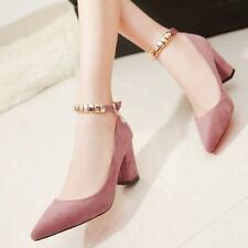Sexy Faux Suede Womens Pointy Toe Pumps Block Heel Court Party Casual Shoes Sz