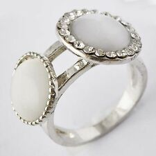 vogue Lucky Womens White GF Clear CZ & Opal Band Ring Size 6-8 10