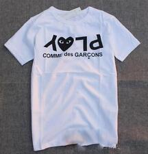 Tops Men's Comme Des Garcons CDG Play Black Letters Tee Women's White T-shirts