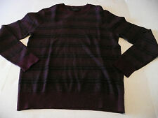 Marc Anthony Sweater Cashmere Blend Crew Neck Maroon Stripe Men XL Slim Fit NEW