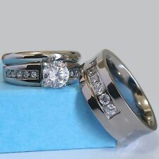 His & Hers Wedding Set Titanium Concave Band Stainless Steel Engagement CZ Ring