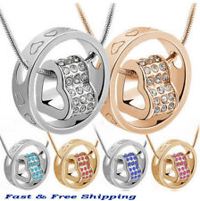 New Heart Shape Stainless Steel Rings Crystal Pendant Necklace Gold Silver