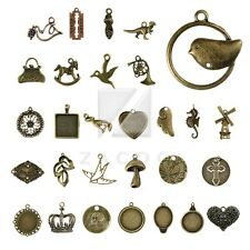 2-100pcs Lots Antique Brass Spacer Metal Charm Pendant Jewelry Making 35 style