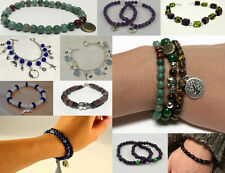 HANDMADE BRACELETS Silver Charms, Hemp/Stretch String w/Wood/Glass Beads, Charms