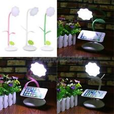 Rechargeable LED Reading Light Clamp Bed Table Desk Lamp with Phone Holder
