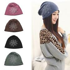 Womens Girls Autumn Winter Fitted Knit Sequins Floral Style Hat Cap Beanie Gift