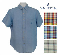 Nautica Mens Plaid Poplin Button-Down Short Sleeved Shirt