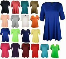 WOMEN TURN UP 3/4 SLEEVE BUTTON STRETCH FLARE LADIES PLUS SIZE TSHIRT TOP 14-28