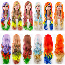 80CM Wavy Curly Long Gradient Hair Rainbow Heat Resistant Cosplay Lolita Wig New