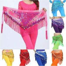 Women Chiffon Belly Dance Hip Scarf Coin Fringe Belt Skirt Party Dancing Costume