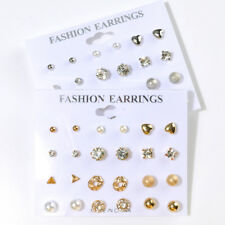 12Pairs Women Fashion Pearl Crystal Heart Stud Triangle Earring Girl Set Jewelry