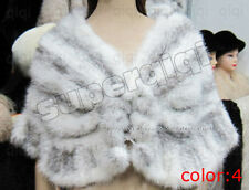 100% Real Genuine Knit Mink Fur Stole Cape Shawl Scarf Coat Womens New 4 Colors