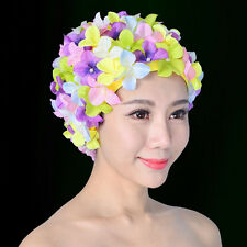 Vintage Floral Ladies Woman Swim Cap Petal Retro Swimming Hat Flower Bathing Cap