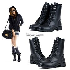 Cool Women Black Military Army PUNK Knight Lace-up Martin Short Boots ES9P01