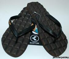 KUSTOM NEW Unisex Mens THONGS FLIP FLOPS CHOCOLATE Smell PLUGGER Logo Sandals