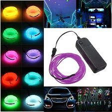 Cool Flexible Neon LED Light EL Wire Strip Tube for Car Dance Party +Controller