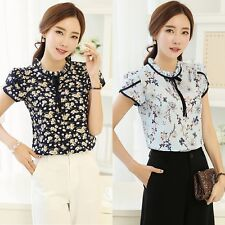 Women Short Sleeve Floral Printed Blouse Tops Fashion Chiffon T-shirts S-3XL
