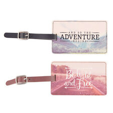 Luggage Tag Wanderlust Adventure Suitcase ID Label Travel Bag Blue Pink Holiday