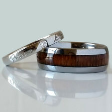 His Hers Wedding Promise Set Wood Tungsten Band and Stainless Steel Love CZ Ring